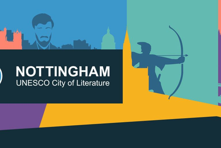Nottingham City of Literature logo with colour background